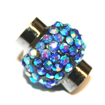 7mm - 17mm x 14mm - Blue AB stone Pave Crystal magnetic clasps - gunmetal